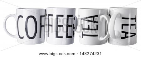 Coffee and Tea Mugs on White Background