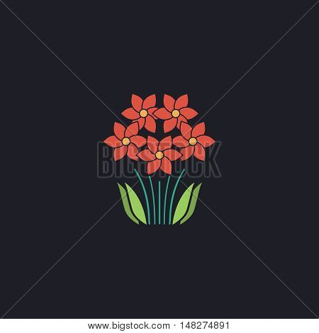 flowers Color vector icon on dark background