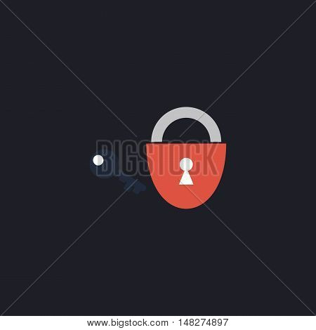 Padlock and key Color vector icon on dark background