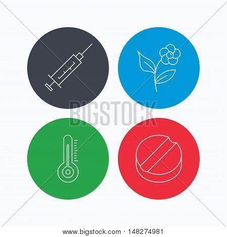 Thermometer, syringe and tablet icons. Flower linear sign. Linear icons on colored buttons. Flat web symbols. Vector