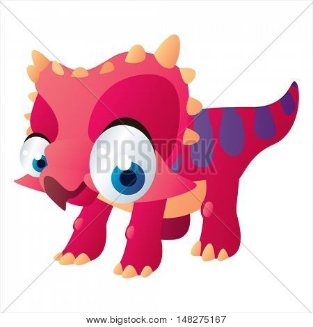 vector cartoon cute animal mascot. Funny colorful cool illustration of happy Triceratops dinosaur
