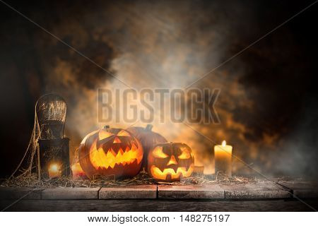 Halloween Pumpkins still-life background.