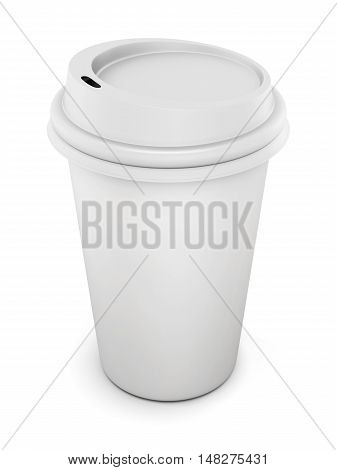 Disposable Plastic Cup With Lid For Coffee Isolated On White Background. 3D Rendering