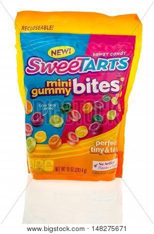 Winneconne WI - 29 July 2016: Box of Nestle Sweetarts mini gummy bites on an isolated background.