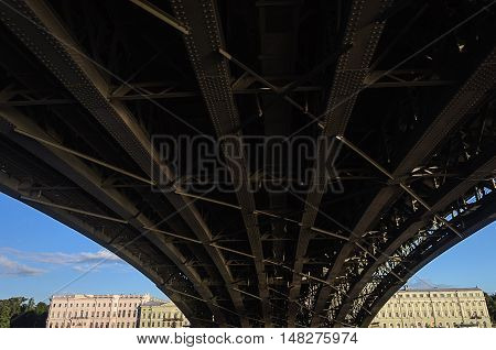 Steel construction of Trinity Bridge across the Neva River in St. Petersburg Russia. View from below