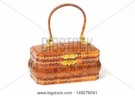Woven Handmade Bag for WomenThai handicraft woman basketry isolate on white