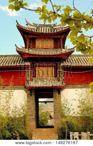 Lijiang Chinba - April 22 2006: Lijiang Naxi Town Market Square entry gate at Lijiang World Heritage Park