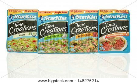 Winneconne WI - 29 July 2016: Package of Starkist tuna creations in different flavors on an isolated background.