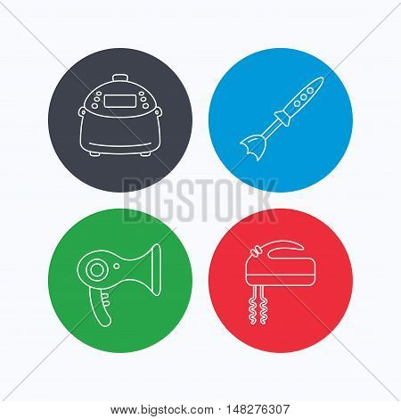 Multicooker, hair-dryer and blender icons. Mixer linear sign. Linear icons on colored buttons. Flat web symbols. Vector