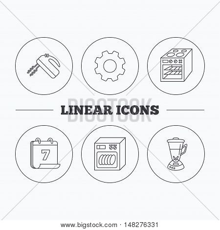 Dishwasher, oven and mixer icons. Blender linear sign. Flat cogwheel and calendar symbols. Linear icons in circle buttons. Vector
