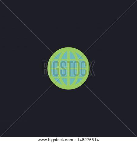 Earth Globe Color vector icon on dark background