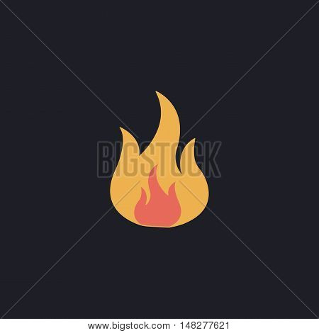 Fire Color vector icon on dark background