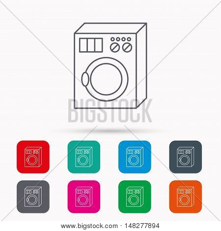 Washing machine icon. Washer sign. Linear icons in squares on white background. Flat web symbols. Vector
