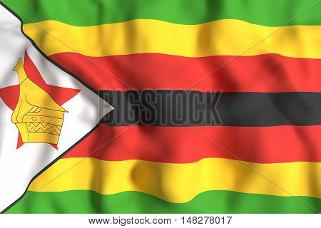 Republic Of Zimbabwe Flag Waving