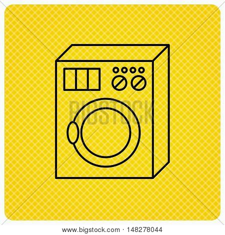Washing machine icon. Washer sign. Linear icon on orange background. Vector