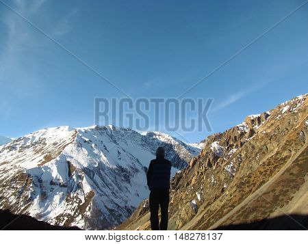 People in the mountains of the Himalayas. Annapurna track.