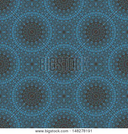 Circular blue ethnic seamless pattern, oriental motif, delicate symmetrical tracery on dark blue background, vector illustration