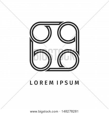 Abstract black square spiral logo outline design. Icon design shape element. You can use logotype in energy, environmental protection, medical science concept icons.Vector illustration background.