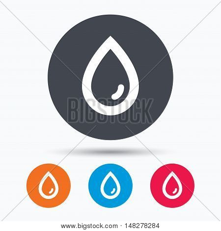 Water drop icon. Natural aqua symbol. Colored circle buttons with flat web icon. Vector