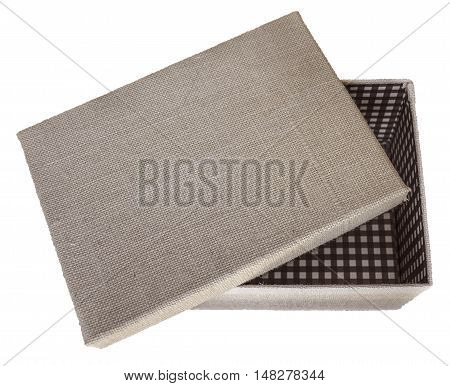 Opened beige box wrapped by burlap canvas isolated on a white background. Clipping path included.