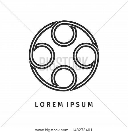 Abstract back circle spiral logo outline design. Icon design shape element. You can use logotype in energy, environmental protection, medical science concept icons.Vector illustration background.