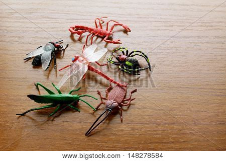 Plastic Toy Insects on a Wooden Background