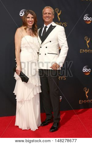 LOS ANGELES - SEP 18:  wife, Patrick Fabian at the 2016 Primetime Emmy Awards - Arrivals at the Microsoft Theater on September 18, 2016 in Los Angeles, CA
