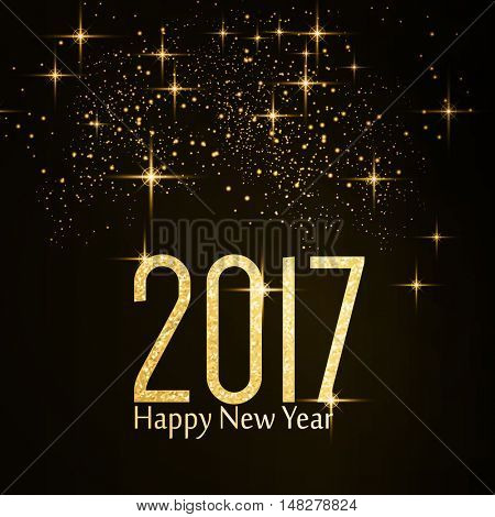 The number 2017 made of a golden shimmering glitter texture and the wording Happy New Year and light effect and sparkling stars on dark background.
