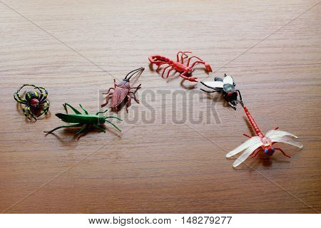 Row of Plastic Toy Insects on Wooden Background