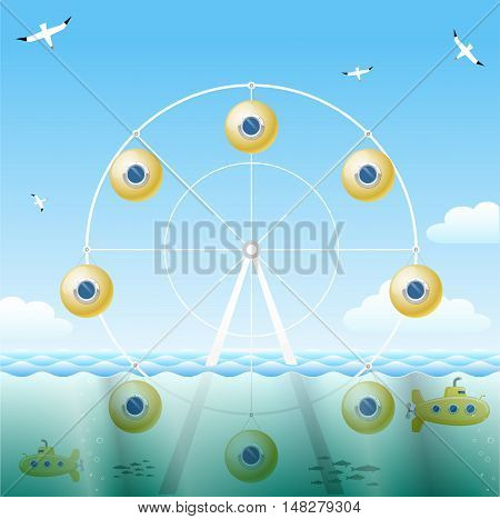 Ferris wheel with bathyscaphe instead of viewing booths. The concept of vector graphics