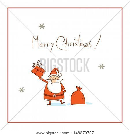 Christmas Santa Claus, Merry Christmas greeting card. Sketchy doodle style hand drawn seasonal vector illustration.