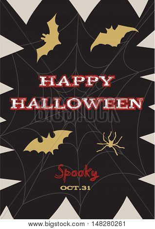 Happy Halloween poster greeting card with modern brush calligraphy hand drawn lettering and holidays elements - web spider pumpkin fangs. Halloween covers tags icons set and more.
