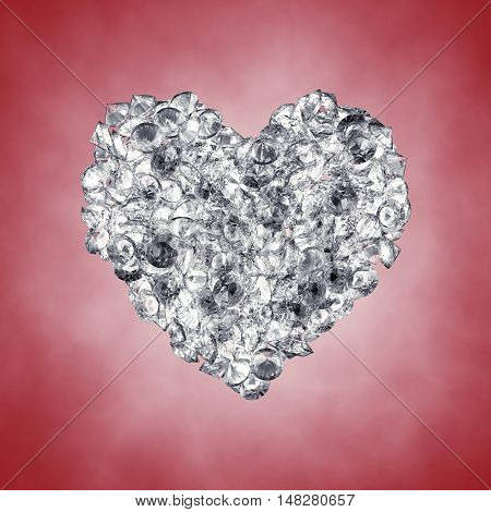 Diamonds in a heart shape Valentine's day , 3d illustration