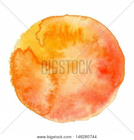 Abstract hand painted orange red round watercolor background