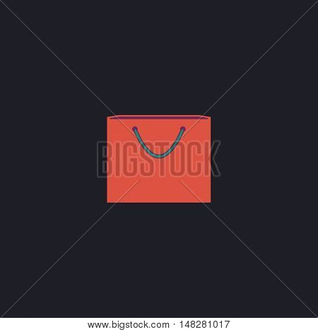 Shopping bag Color vector icon on dark background