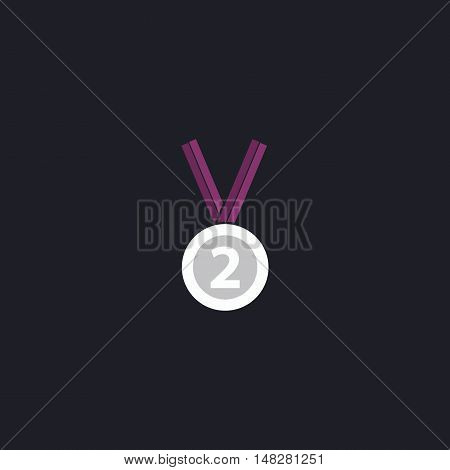 silver medal Color vector icon on dark background