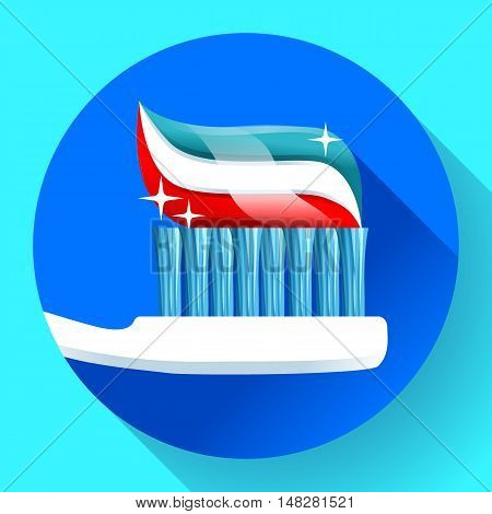 Toothbrush with toothpaste Icon flat style. Tricolor and shining with sparkles. Dentist care symbol.