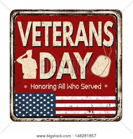 Veterans Day Vintage Metal Sign