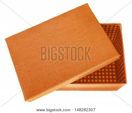 Opened orange box wrapped by burlap canvas isolated on a white background. Clipping path included.