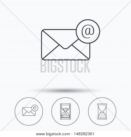 Mail, e-mail and hourglass icons. E-mail inbox linear sign. Linear icons in circle buttons. Flat web symbols. Vector