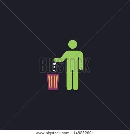 Bin Color vector icon on dark background