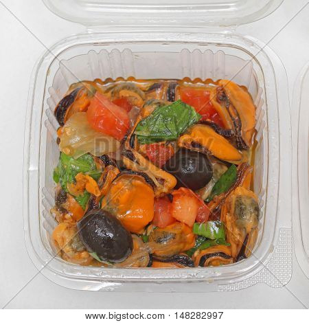 Seafood Salad With Mussel Shellfish And Olives
