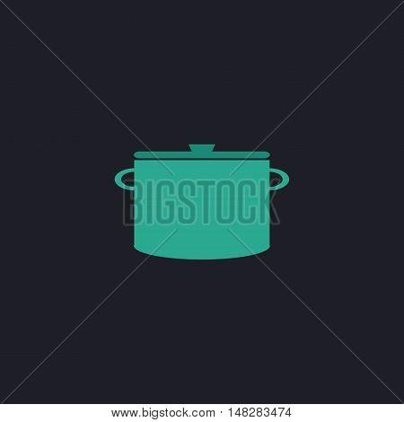 Saucepan Color vector icon on dark background