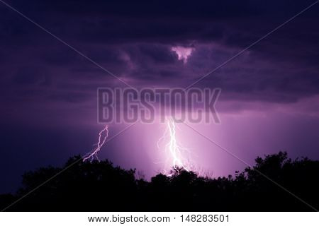 Lightning Strike On The Dark Sky