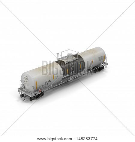 Railroad tank car isolated on white background, 3D illustration
