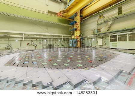RBMK reactor Central Hall. Visible charge discharge machine