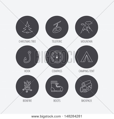 Mountain, fishing hook and hiking boots icons. Compass, backpack and bonfire linear signs. Camping tent, teleferic and christmas tree icons. Linear icons in circle buttons. Flat web symbols. Vector
