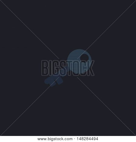 Old key Color vector icon on dark background