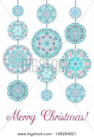 Merry Christmas Card with Snowflakes on white background. Mandala decorative xmas balls and beads. Vector greeting. Luxury design elements. Winter poster print. Weave seasonal illustration.