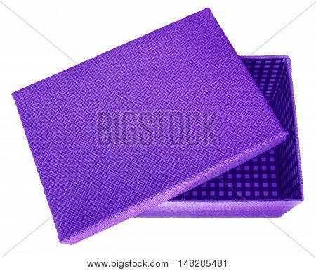 Opened violet box wrapped by burlap canvas isolated on a white background. Clipping path included.